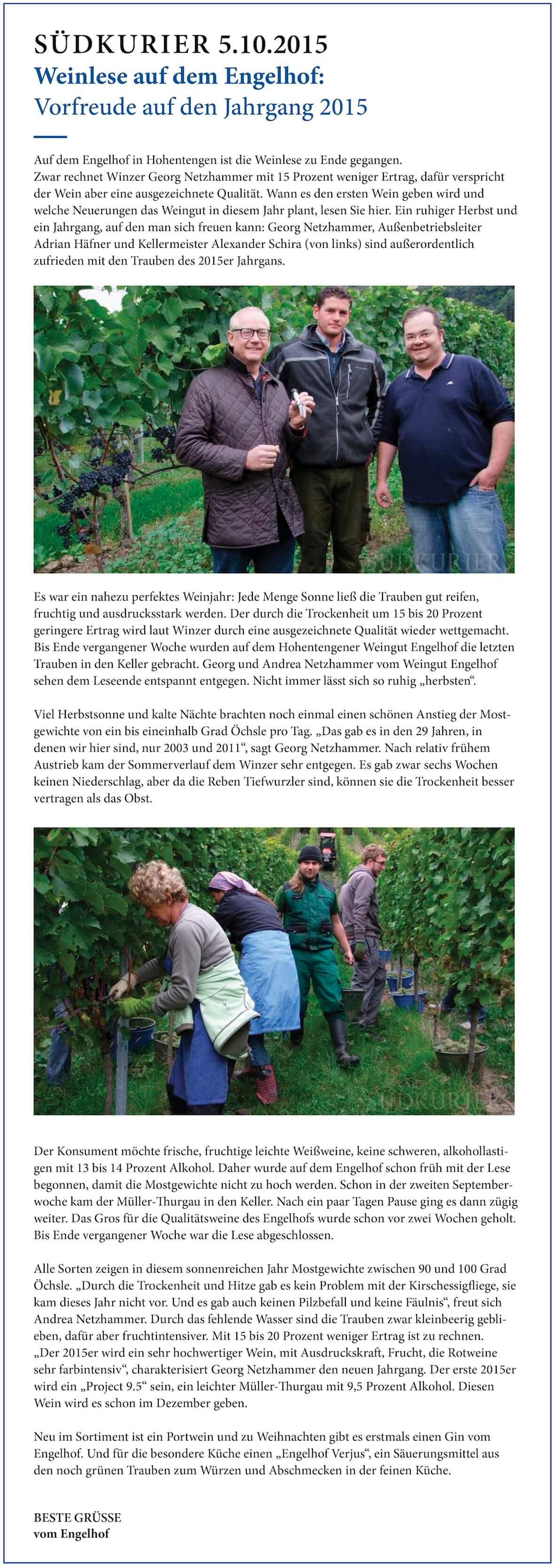 Neuigkeiten vom Weingut Engelhof